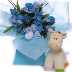 Baby Bouquet For a Baby Boy with Soft Toy.
