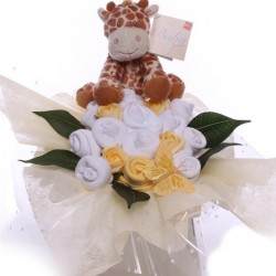 Unisex Baby Bouquet Arrangement With Giraffe Soft Toy.