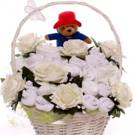 Baby bouquet gift basket with Paddington Bear Soft Toy.