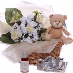 Neutral Baby Bouquet Gift Basket.