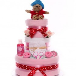 Paddington Bear Nappy Cake For A Baby Girl.