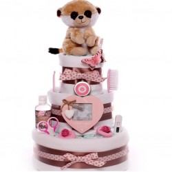 Nappy Cake With Meerkat Toy Three Tiers For A Baby Girl.