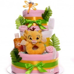 Lion King Nappy Cake For A Baby Girl.