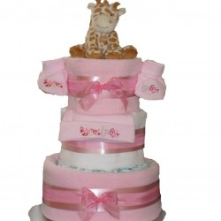 Nappy Cake with Hat and Booties Set.
