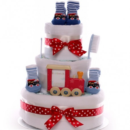 Nappy Cake For a Baby Boy With A Train Theme.
