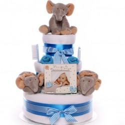 Nappy Cake with an elephant theme baby boy.