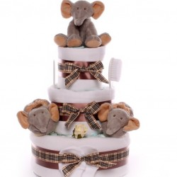 Large Elephant Themed Nappy Cake.