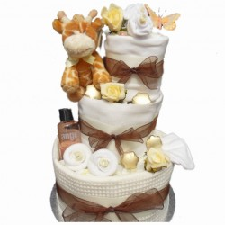 Unisex Nappy Cake with Giraffe Soft Toy.