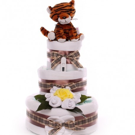 Tiger Nappy Cake Neutral Themed.