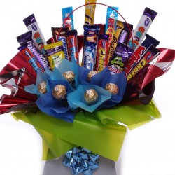 Bouquet of chocolate bars and Ferrero Rocher chocolates.