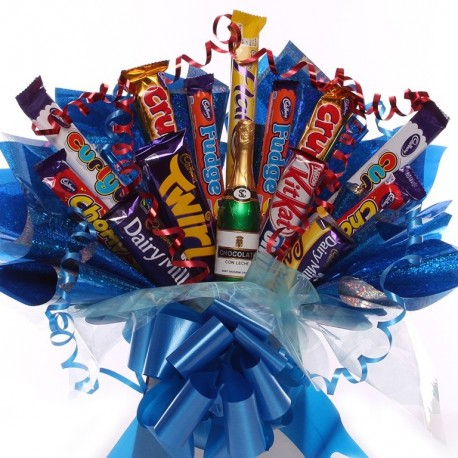 Chocolate Bouquet For Him With Chocolate Bottle.