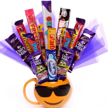 Chocolate Bouquet made in an Emoji Mug Wearing Sunglasses.