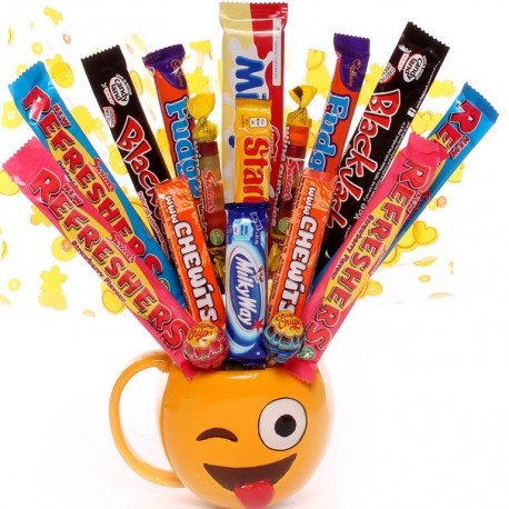 Sweet and Chocolate Bouquet made inside a Emoji mug which is winking.