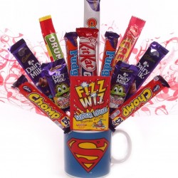 Superman Mug With Chocolates and Sweets made into a bouquet.
