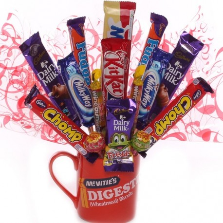 Novelty Chocolate Gift Idea-Chocolate Bouquet In a Digestive Mug.
