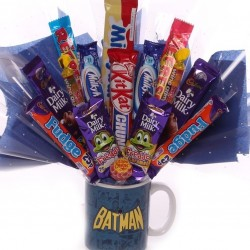 Batman Mug with a Chocolate Bouquet inside.