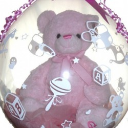 Baby Girl Pink Teddy Inside A Balloon,