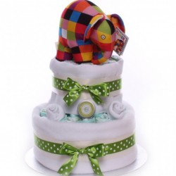 Elmer Elephant 2 Tier Nappy Cake