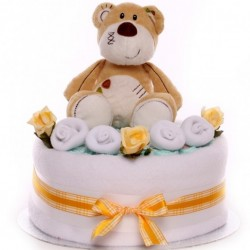 1 tier nappy cake with soft toy unisex.