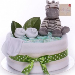 One Tier Zebra Nappy Cake.