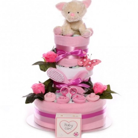 Little Cat Three Tier Nappy Cake Baby Girl.