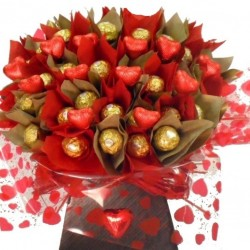 Luxury Ferrero Rocher Bouquet With Chocolate Hearts.