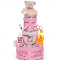 Nappy Cake Baby Girl Teddy Three Tiers Luxury.