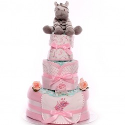 Nappy Cake With Booties and Bib Gift Set.