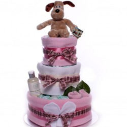 Gromit Nappy Cake For A Baby Girl Three Tier.