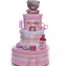 Me to You Bear Nappy Cake Three Tier Baby Girl.