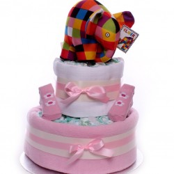 Elmer Elephant 2 Tier Nappy Cake Baby Girl.