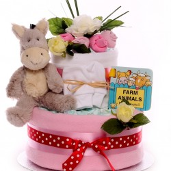 Donkey Two Tier Nappy Cake.