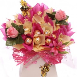 Luxury Ferrero Rocher Bouquet With Silk Flowers.