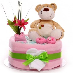 Suki Teddy Bear One Tier Nappy Cake.