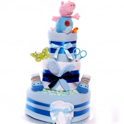 George Nappy Cake Three Tier Baby Boy.