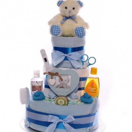 Large Nappy Cake With Soft Blue Teddy Three Tier.