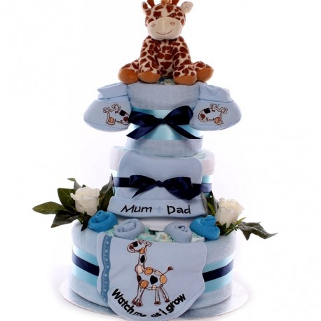 Nappy Cake With Giraffe Sof Toy And Match Gift Set.
