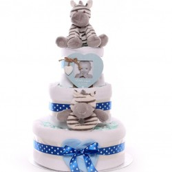 Zebra Nappy Cake With Soft Toy and Ring Rattle.