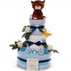 Large Luxury Nappy Cake With Soft Plus Tiger Toy.