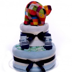 Elmer The Elephant Two Tier Nappy Cake