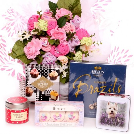 Luxury Ladies Sock Bouuet With Pamper And Tasty Treat Hamper.