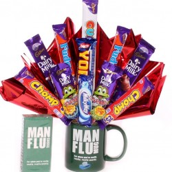 Man Flu Gift Mug With Chocolate Bouquet and Man Flu Tissues.