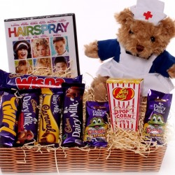 Get Well Gift Tray With DVD, Chocolates and Nurse Teddy Bear.