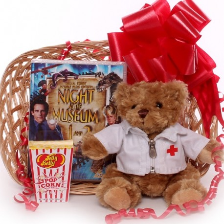 Get Well Gft Tray with DVD, Doctor Teddy Bear and Jelly Bean Pop Corn.