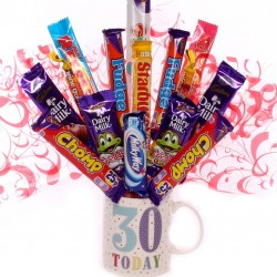 30th birthday mug with chocolate bouquet | 30th birthday gift