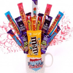 Happy Birthday Mug With Chocolate Bouquet