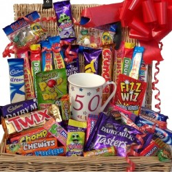 50th hamper chocolate and sweets with 50th birthday mug.