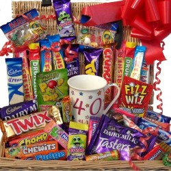 40th Birthday chocolate, 40th mug and sweets hamper.