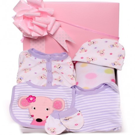 Gift Box Baby Girl - Mouse Clothing Design.