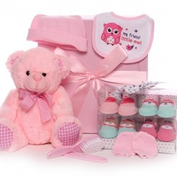 Large Baby Girl Gift Box With Soft Pink Teddy